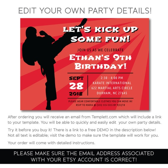 Karate Tae Kwon Do Martial Art Party Invitation Instant