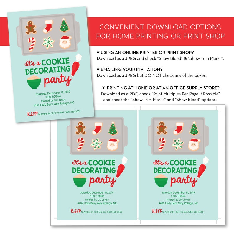 Editable Christmas Cookie Decorating Party Invitation Etsy