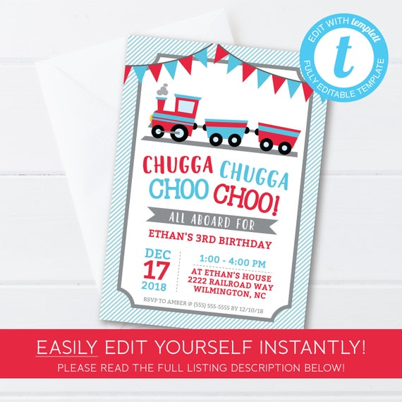 Train Birthday Party Invitation Instant Download Editable