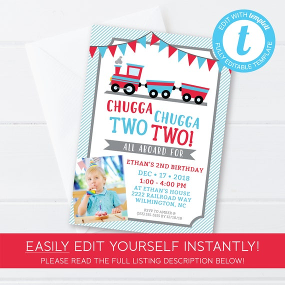 Chugga Two Birthday Invitation 2nd Train Party Theme Editable Edit At Home With Templett DIY