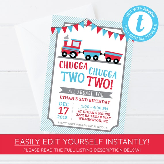 Chugga Two Train Invitation Instant Download Printable 2nd Birthday Choo Editable Template