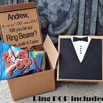 Ring POP ~ Will You Be My Ring Bearer TUX Boxed Invite Time To Suit Up Rustic POP the Question Tuxedo Bow Tie