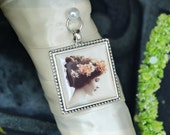Bouquet Photo Charm Frame Square Antique Silver Wedding Memory Keepsake