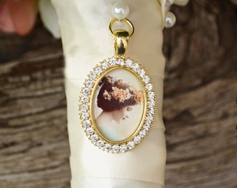 Bouquet Photo Charm Rhinestone Picture Setting Wedding Shoes Gold Oval Bridal Memory Accents Frame Bling