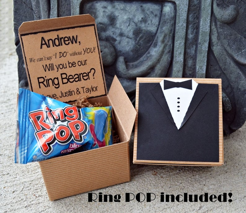 Ring POP  Will You Be My Ring Bearer TUX Boxed Invite Time To image 0