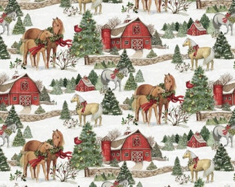 susan winget christmas horses premium cotton fabric by the yard - Christmas Horses