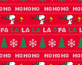 peanuts snoopy woodstock fa la la 59 inch christmas fleece fabric by the yard