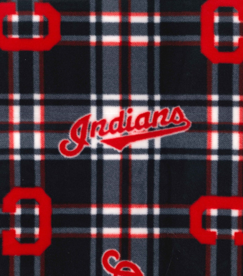 NEW! Cleveland Indians MLB Plaid 58-inch Fleece Fabric by the yard