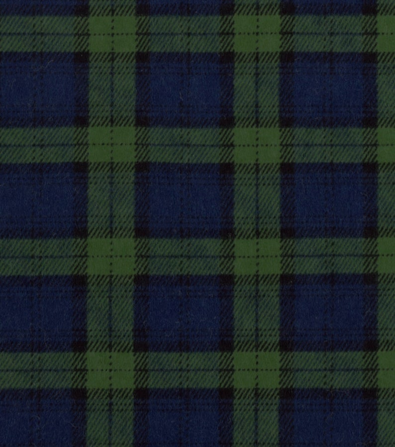 Black Watch Plaid FLANNEL Fabric by the yard and by the half yard
