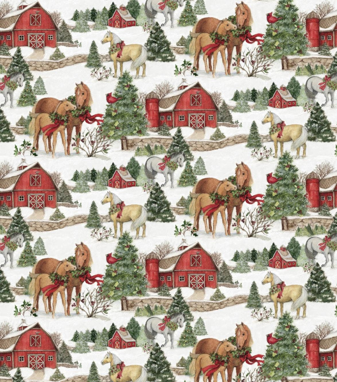 NEW Susan Winget Christmas Horses Premium Cotton Fabric by | Etsy