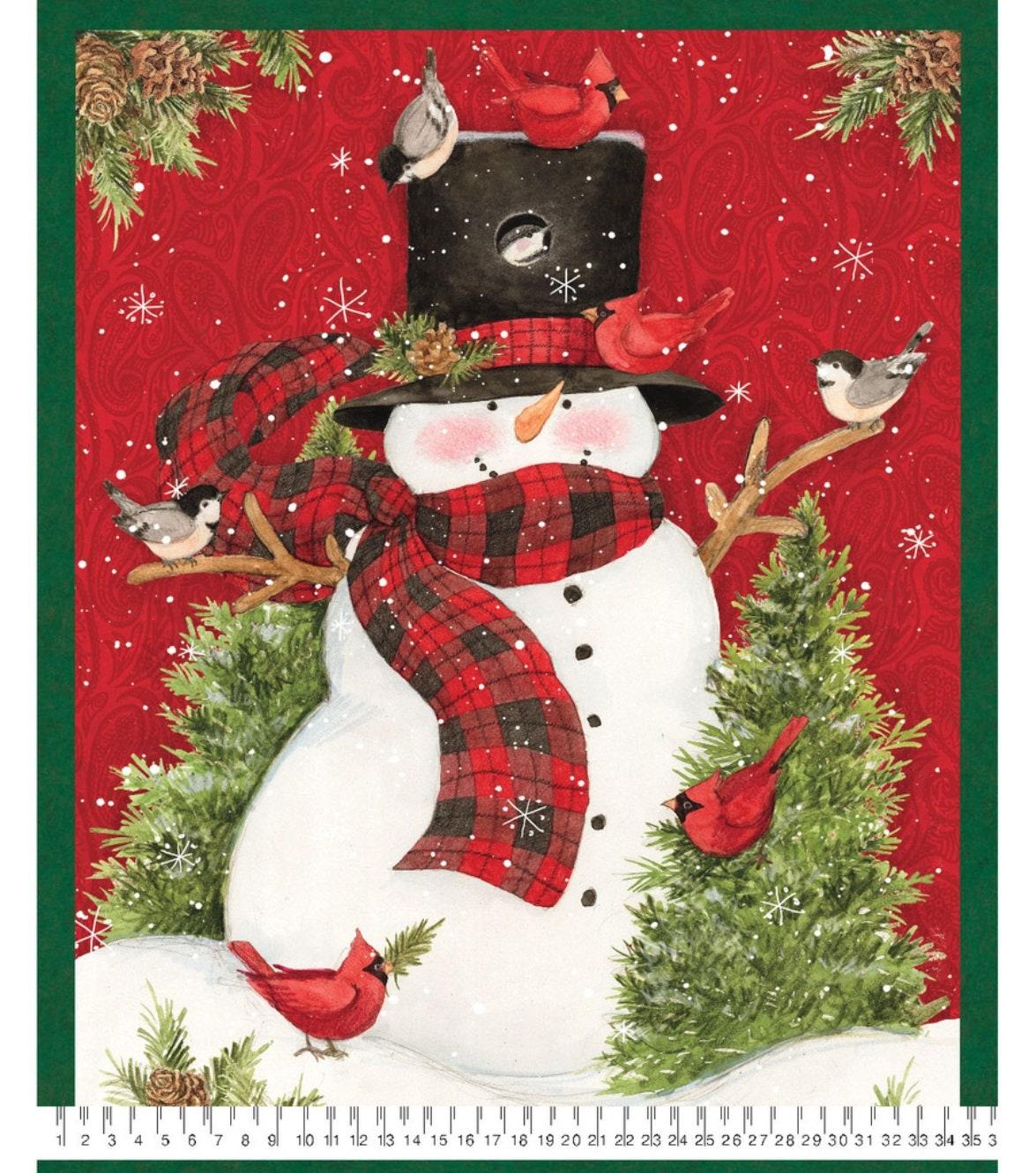 NEW Susan Winget Christmas Snowman Premium Cotton Fabric | Etsy