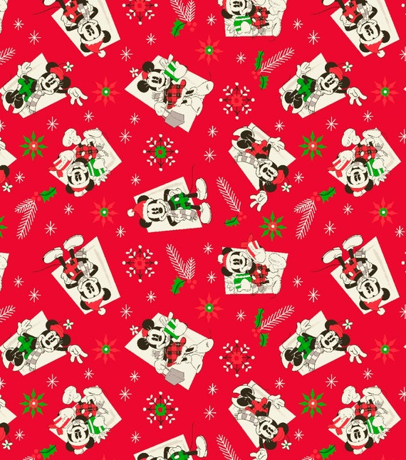 Disney Christmas Fabric By The Yard.Mickey Minnie Mouse Vintage Christmas Cotton Fabric Sold By The Yard And By The Half Yard