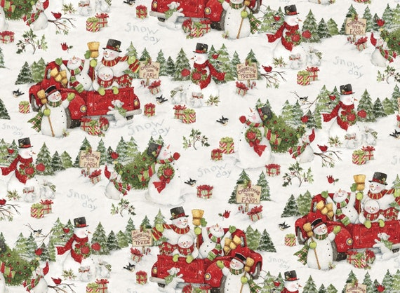 Snowmen At Christmas.Susan Winget Red Truck Snowmen At Christmas Tree Farm Premium Cotton Fabric By The Yard And By The Half Yard