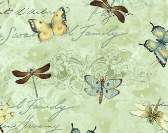 Susan Winget Dragonfly Toss Premium Cotton Fabric by the yard and by the half yard