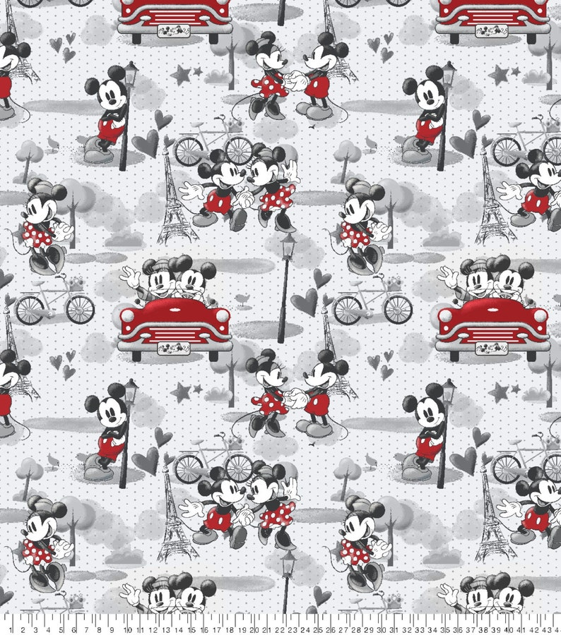 Vintage Style Mickey Mouse on Plaid Disney Fabric by the Yard