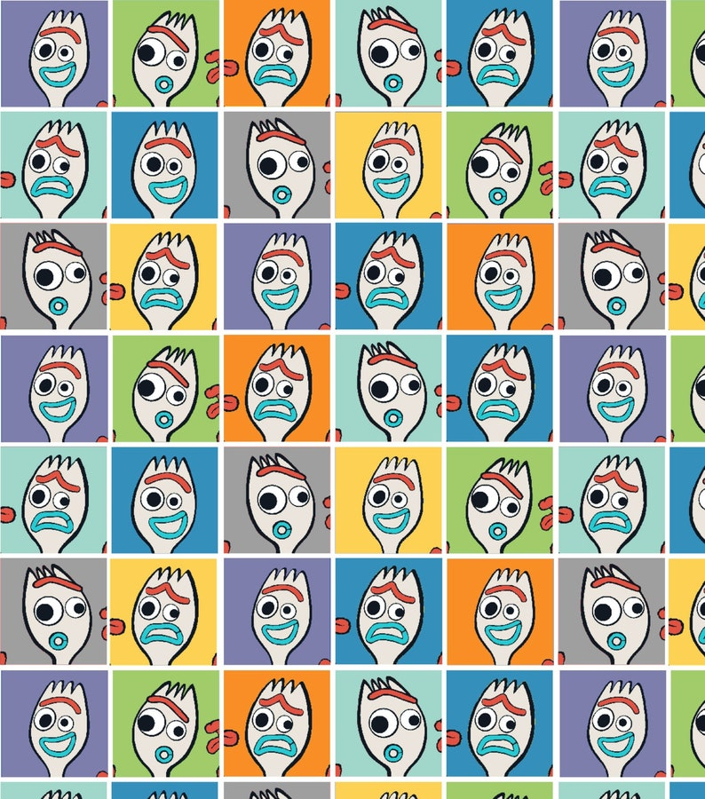 RESTOCKED Disney Toy Story 4 Forky Cotton Fabric by the yard and by the half yard