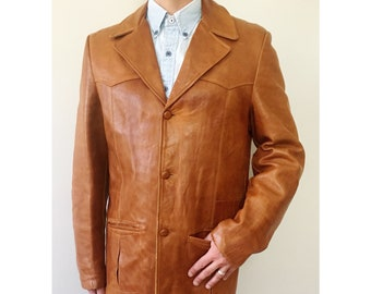 Vintage 70s Cognac Leather 3-button Westernwear Blazer Mens