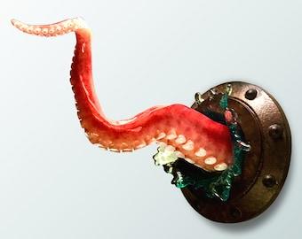 Octopus tentacle sculpture, Nautical art object