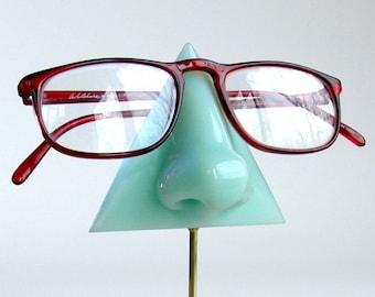 Eyeglass holder,  Mint green nose eyeglass stand, Reading glasses holder, glasses display