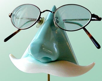 Mint Green Nose Eyeglass Stand, Key Caddy White Mustache, Geeky Nerd Book Lover Gift