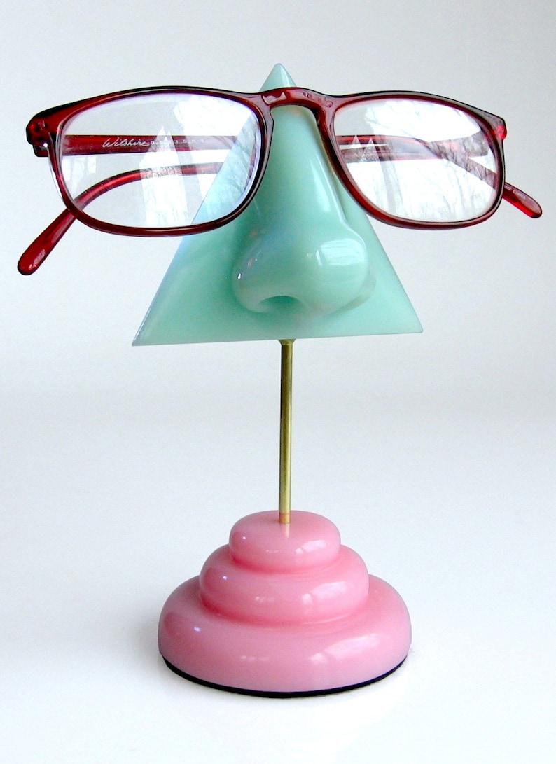 Eyeglass holder  Mint green nose eyeglass stand Reading image 0