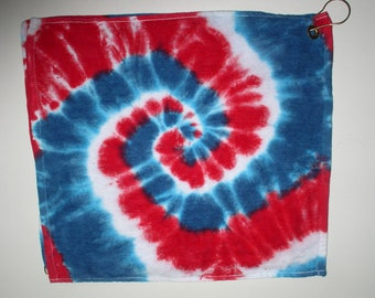"""5 Golf & rally towels, small 16"""" x 16"""", red, white, and blue"""