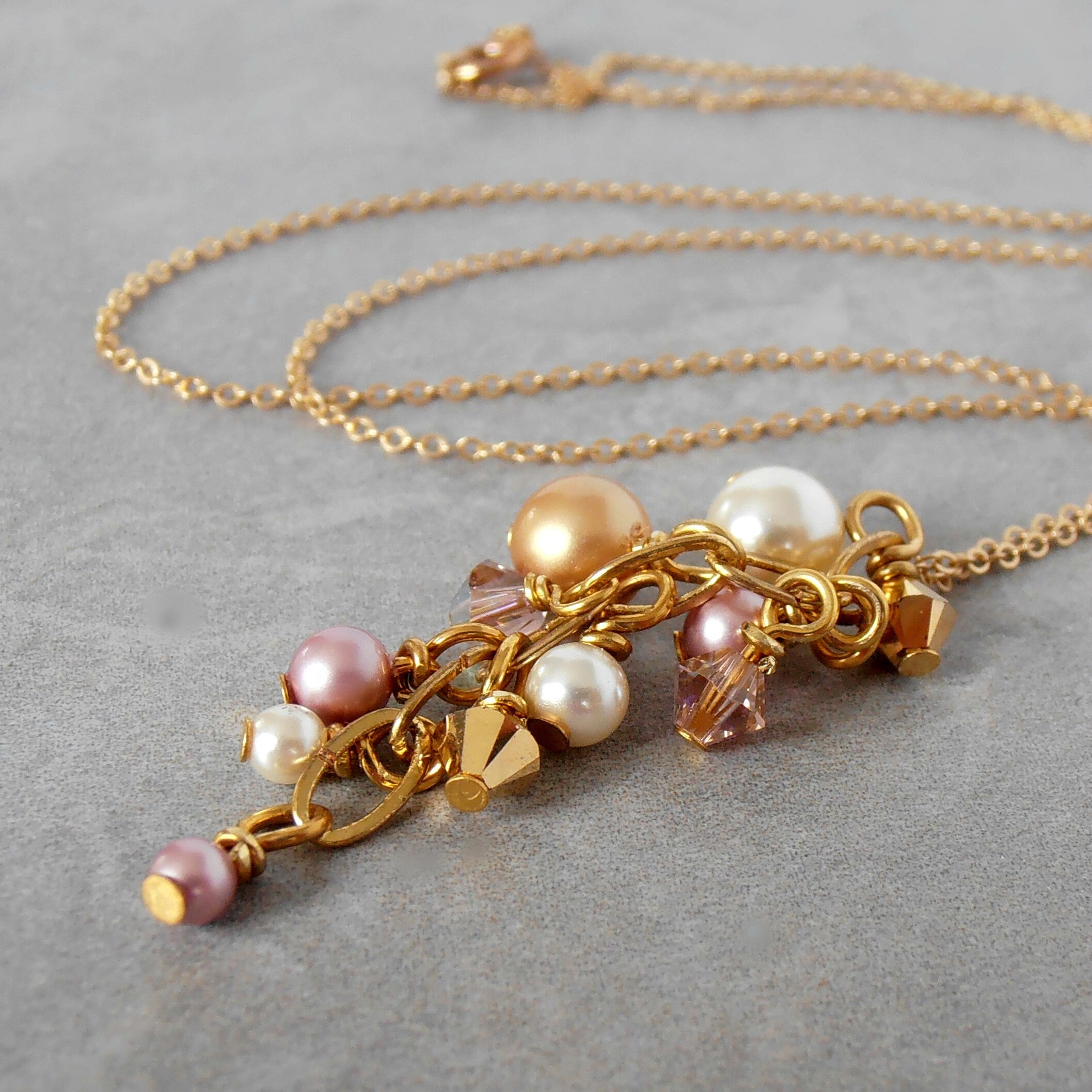 Bridesmaid Jewelry Pink Mauve and White Colored Faux Pearl Necklace with Silver Chain