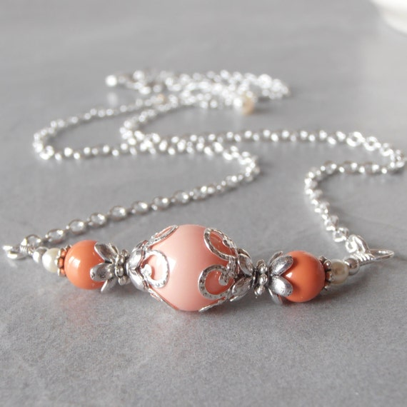 Items similar to Orange and Pink Coral Swarovski Pearl Necklace, Beaded Necklace with Silver Chain, 18 Inches, Handmade Jewelry on Etsy
