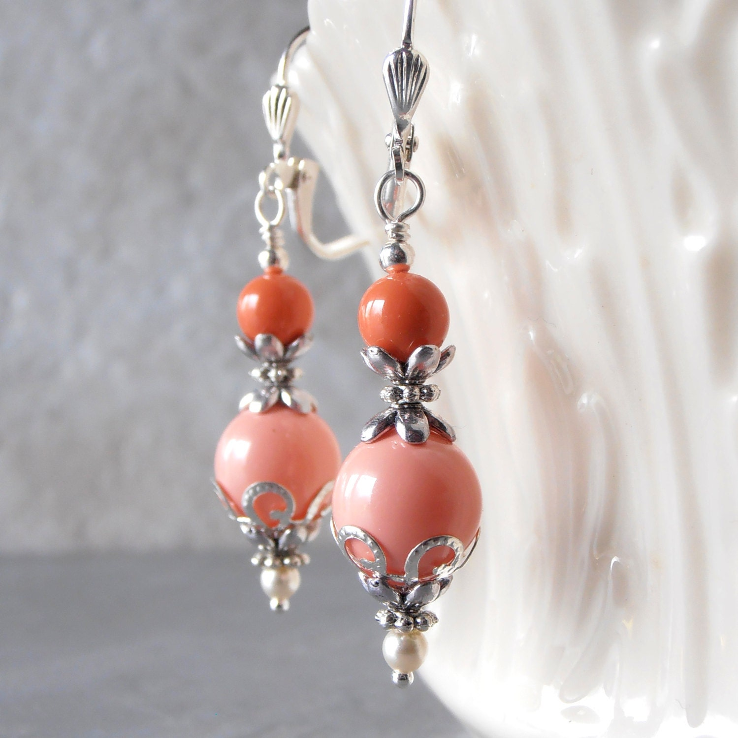 Coral Pearl Dangle Earrings Orange Coral And Pink Coral Etsy