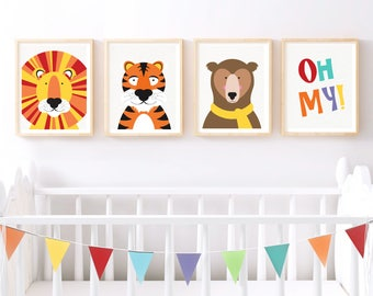 nursery art print set lions tigers bears oh my print - wild animal art set, animal nursery decor, colourful set of prints for baby's room