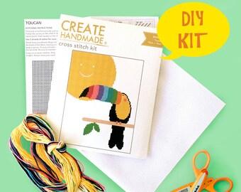 cross stitch kit toucan easy beginner -  DIY kit, bird embroidery kit, small cross stitch pattern, cross stitch for kids, stocking stuffer