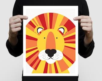 nursery animal print - lion print - wild animal, sarafi nursery, kids art nursery decor, jungle wall art, lion illustration, babies room art