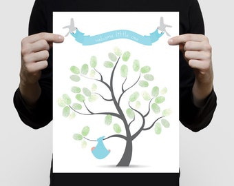 boys baby shower guest book alternative - fingerprint tree with baby bundle - personlaised print, new baby gift custom nursery art for boy