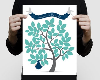 """printed signature baby shower guest book tree 11x14"""" print - baby boy with birds nursery art navy blue grey turquoise or custom personalised"""