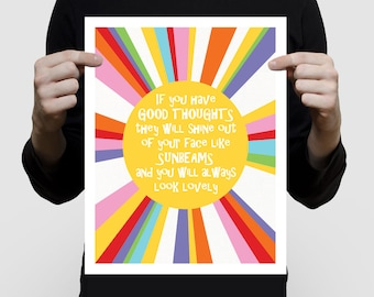colourful kids art, sunbeams and good thoughts sun print - inspirational quote, nursery art for baby girl or boy, gender neutral, bright fun