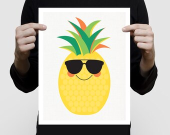 pineapple print pineapple art - pineapple decor, pineapple wall art, summer nursery art, tropical nursery decor, fruit print fruit artwork