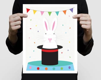 bunny art print magic rabbit in top hat - magician circus rabbit artwork, kids decor, white rabbit illustration, nursery decor boy or girl