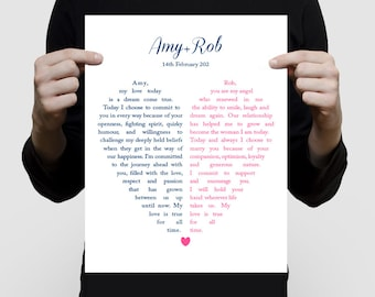 personalised wedding vow art split heart - custom print first anniversary gift paper, Valentine's gift wedding vow keepsake customizable art