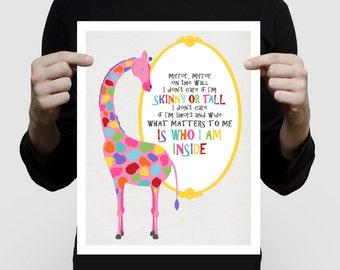 pink giraffe print mirror mirror, inspirational quote, wall art girls room, animal illustration nursery decor bedroom, poster rainbow bright