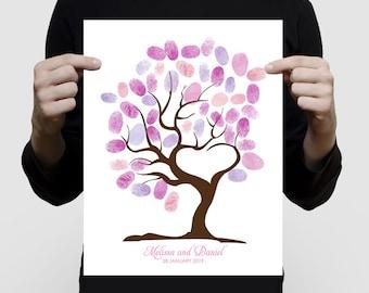 custom fingerprint guest book tree of love printed for wedding or baby shower - love heart shaped, unique alternative keepsake artwork art