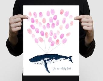 baby shower guest book - humpback whale print - fingerprint gust book, personlaized nursery art, sea themed nursery print, whale art print