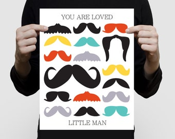 """mustache art or baby shower guest book alternative - 11x14"""" print personalised nursery keepsake for new baby boy little man moustache party"""
