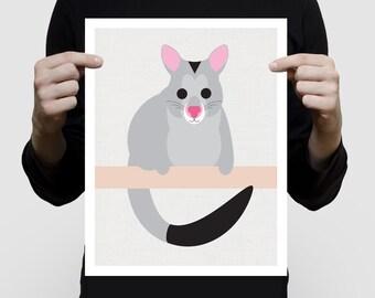 australian animal nursery art - possum print, aussie animal illustration brushtail, kids wall art, baby gift boy or girl gender neutral art