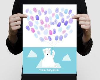 "polar bear fingerprint balloon guest book baby shower or birthday - 11x14"" print - nursery art, animal, arctic, winter ice, blue, customised"