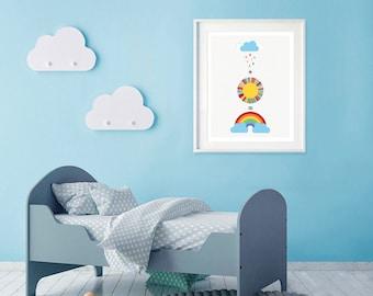 rain + sun = rainbows nursery print on canvas or paper, colourful nursery decor, rainbow nursery wall art, kids prints, kids poster sky blue