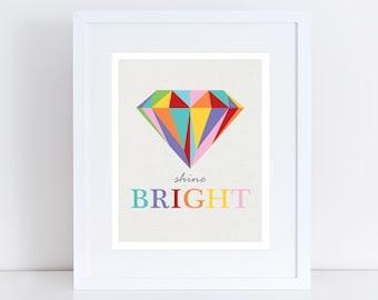 shine bright diamond print, diamond art, colourful artwork for girls, girls nursery art, room decor for girls, rainbow nursery art for girls