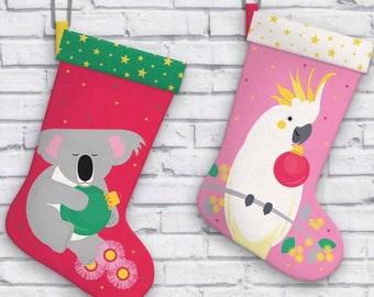 Make your own Australian Christmas Stocking DIY - cotton sewing panel Koala or Cockatoo - Christmas craft novelty fabric, Christmas decor