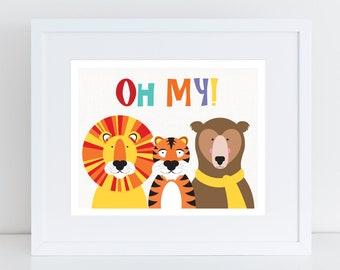 lions and tigers and bears oh my print - nursery art, nursery decor, animal prints, kids art gift safari prints, animal art nursery wall art
