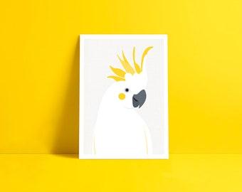 cockatoo print - parrot illustration giclee art print, kids room art, nursery print, tropical wall art, australian bird tropical home decor