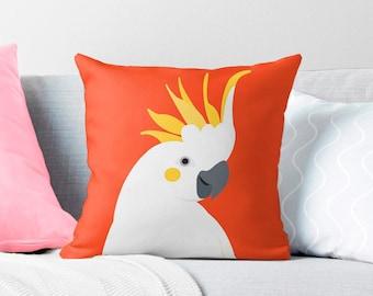 cockatoo cushion cover, parrot pillow, Australian bird throw pillow, decorative pillow, Australian nursery, tropical decor, tropical cushion